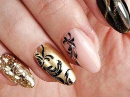 Интересный дизайн ногтей для новогоднего маникюра